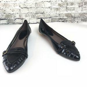Zara Black Patent Leather Pointy Toe Flats